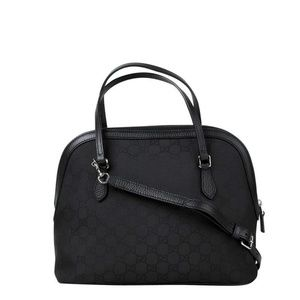Gucci Dome Black Nylon Leather Cross Body Bag